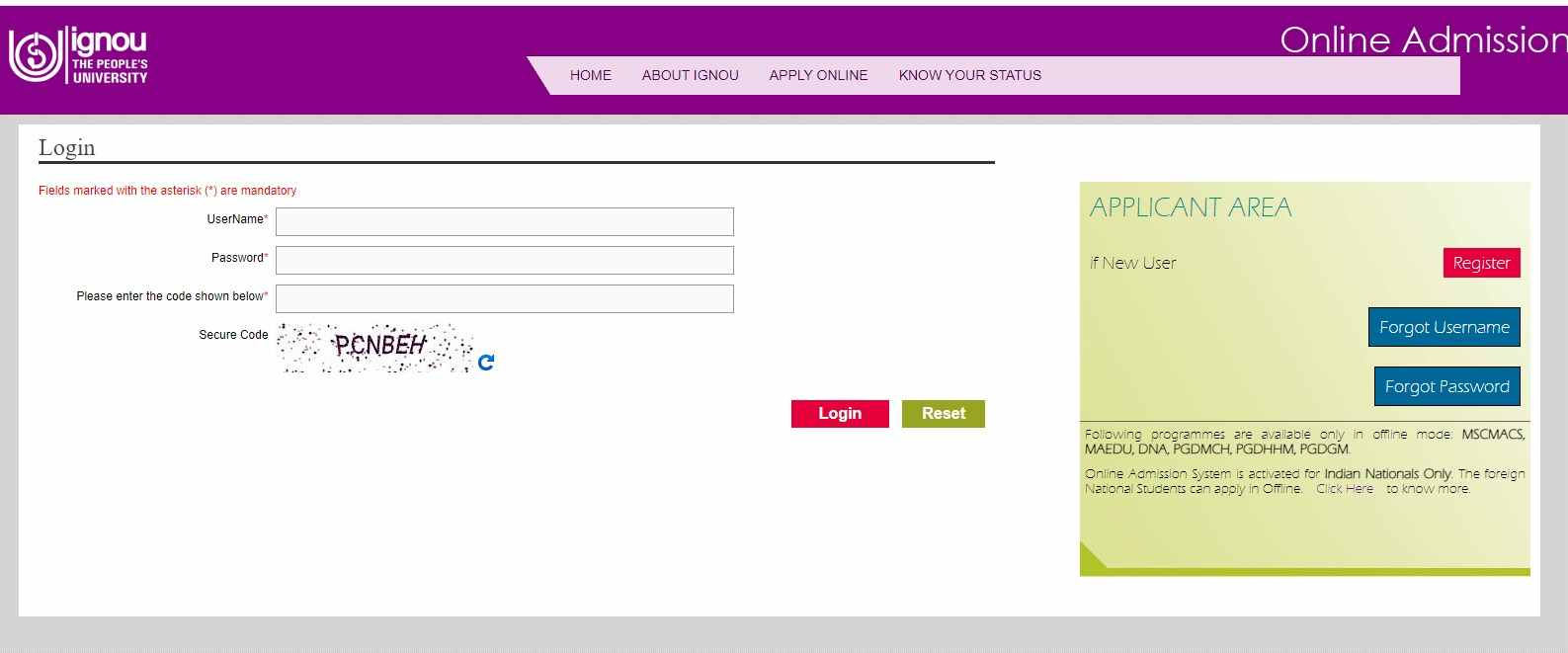 IGNOU Login Panel